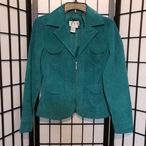 Live a Little Leather Turquoise Jacket sz S
